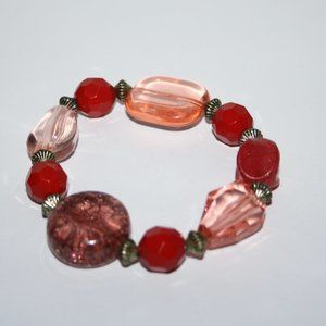 Beautiful red chunky beaded bracelet